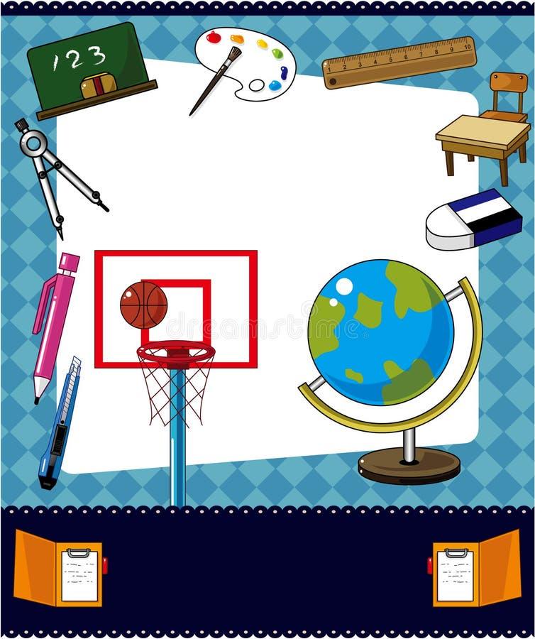 De schoolkaart van het beeldverhaal royalty-vrije illustratie