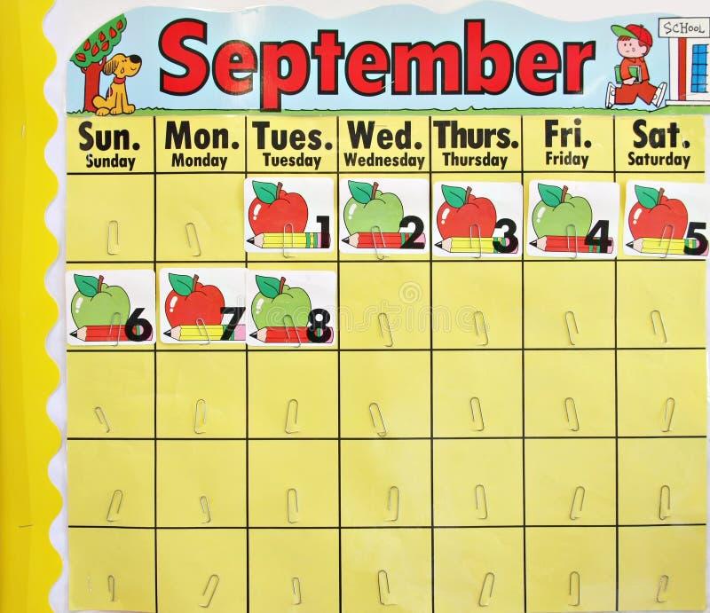 De schoolkalender van september stock afbeelding
