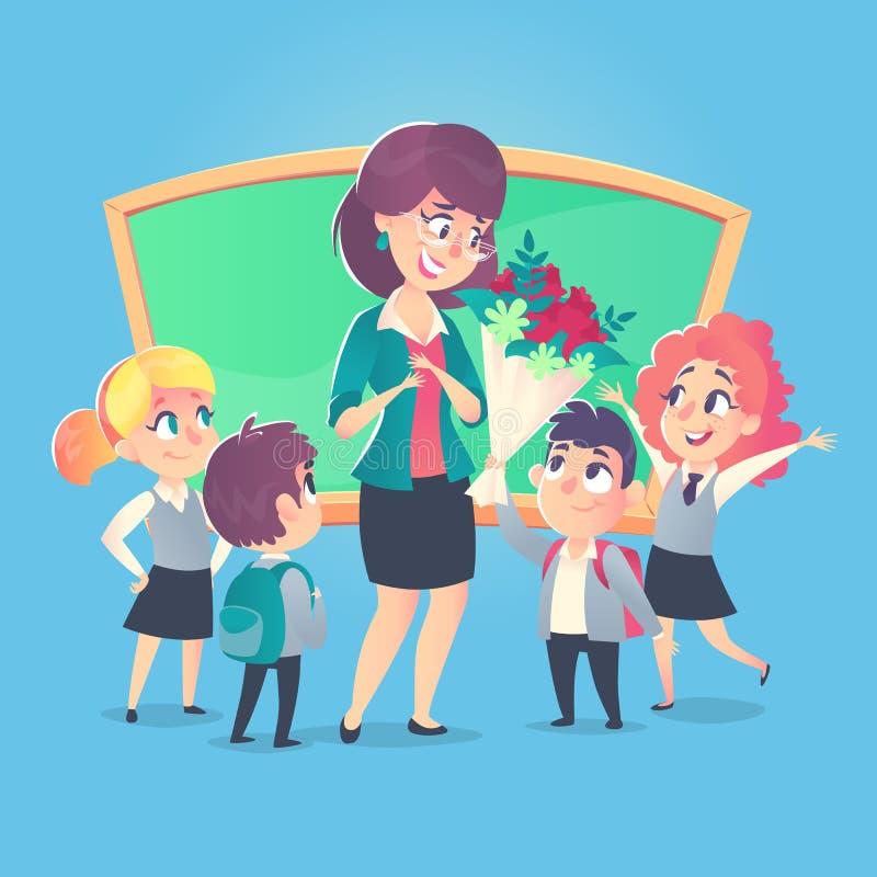 De schoolkinderen geven bloemen aan de gelukkige leraar in klaslokaal Leraars` s Dag Terug naar School royalty-vrije illustratie