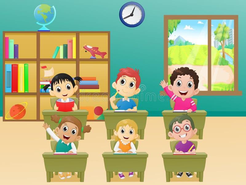 De schoolkinderen van lessenactiviteiten in klaslokaal royalty-vrije illustratie