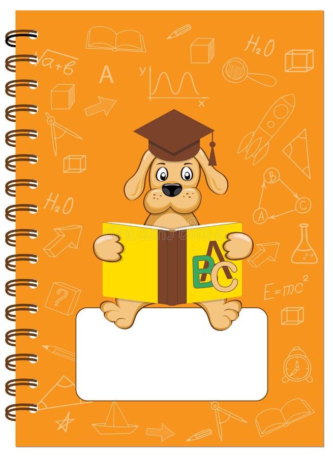 A5 de schoolnotitieboekje van het dekkingsontwerp met lezingspuppy royalty-vrije illustratie