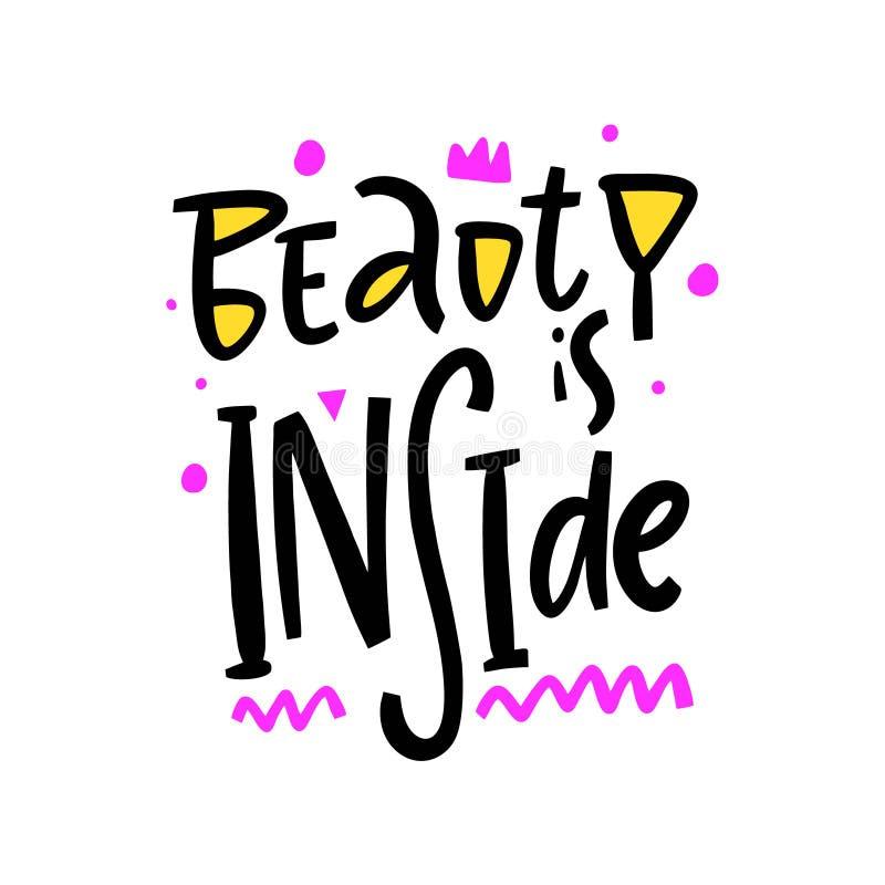De schoonheid is het Binnenhand getrokken vector van letters voorzien Motivatieuitdrukking Ge?soleerdj op witte achtergrond royalty-vrije illustratie