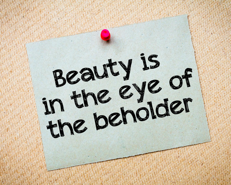 De schoonheid is in het oog van beholder stock afbeeldingen