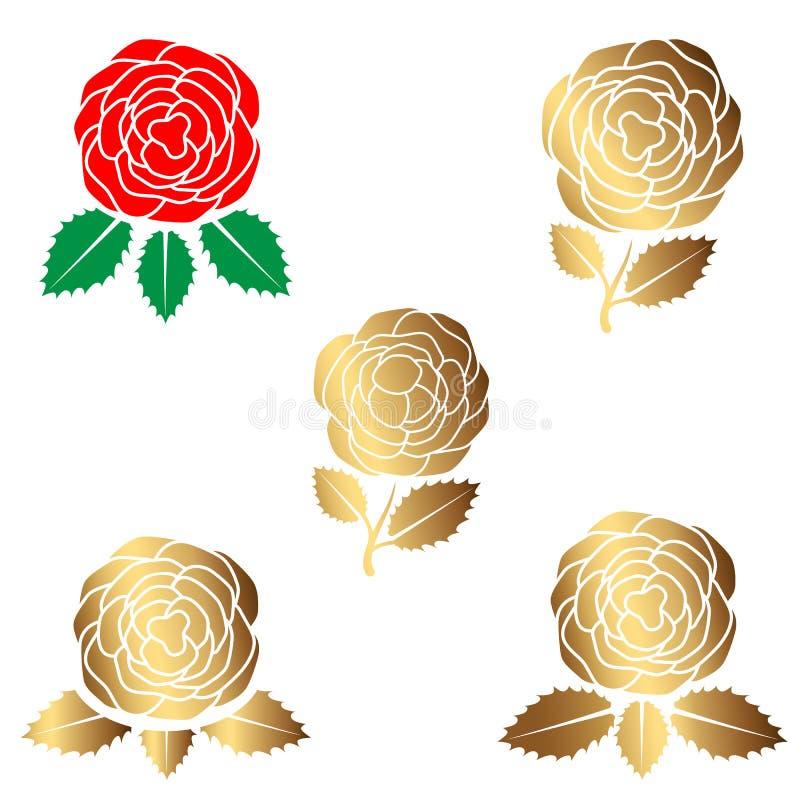 De schoonheid nam embleem, teken, symbool voor schoonheidssalon, schoonheidswinkel, kuuroordsalon, bloemwinkel toe Vlakke moderne royalty-vrije illustratie