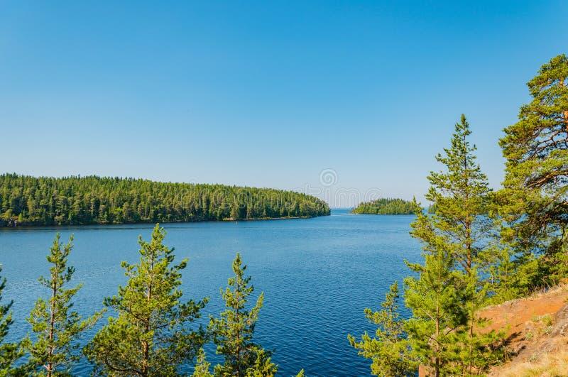 De schoonheid van aard van het Eiland Valaam De unieke aard van Karelië Meer Ladoga, Rusland royalty-vrije stock fotografie