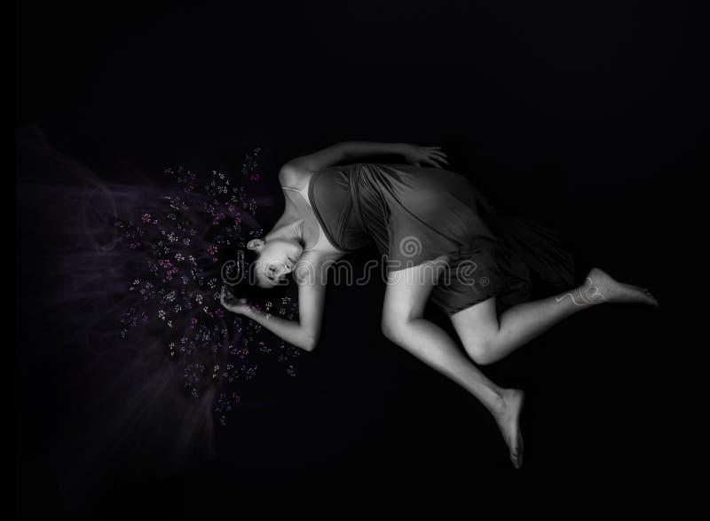 De schoonheid van de slaap binnen met sterren in het haar. stock afbeelding