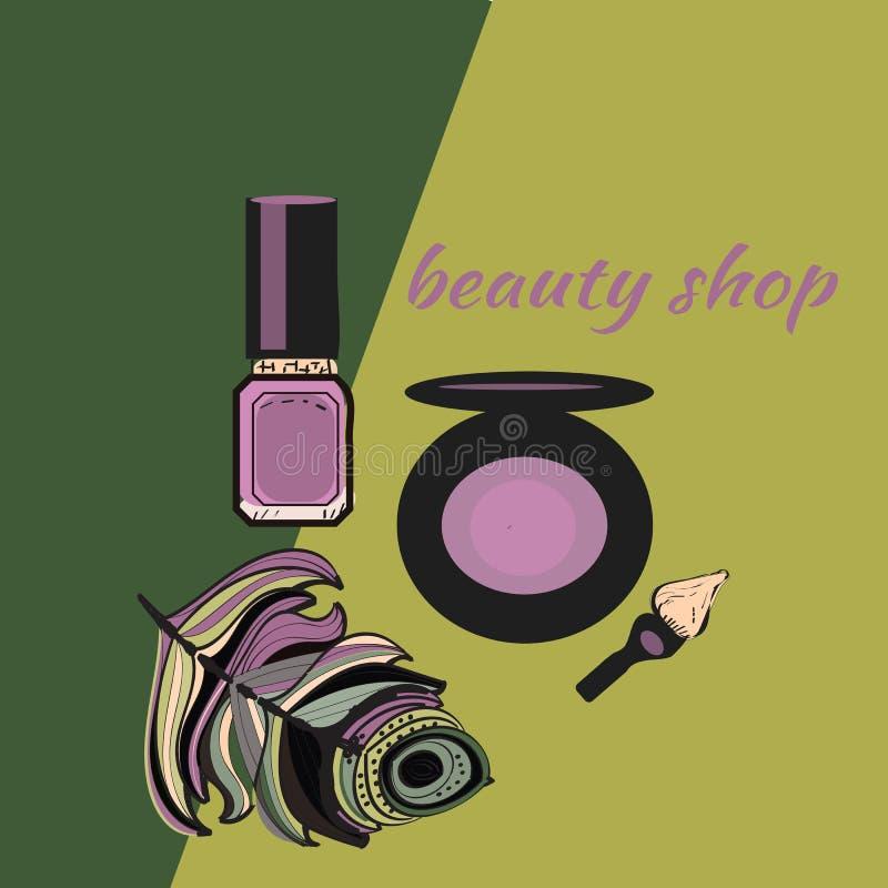 De schoonheidsmiddelen en de manierachtergrond met maken kunstenaarsobjecten omhoog lippenstift, borstel met plaats voor uw tekst royalty-vrije illustratie