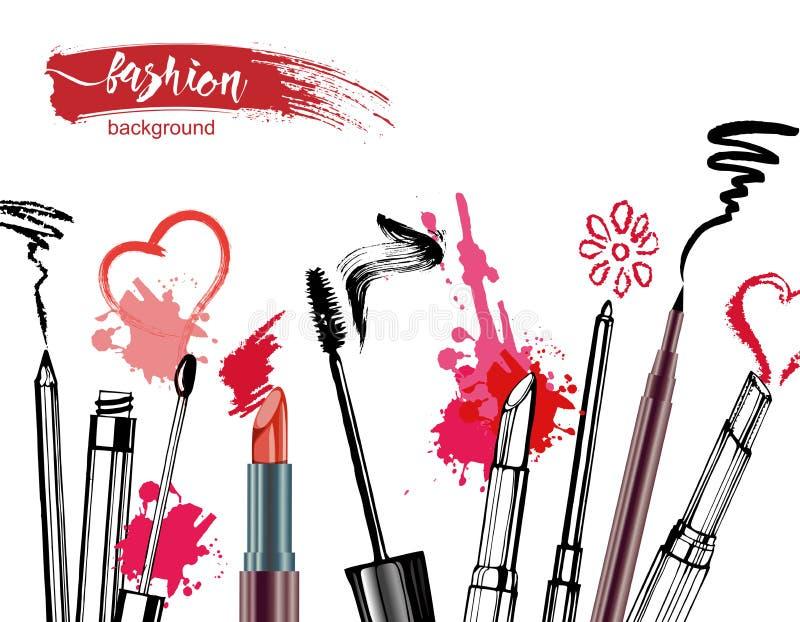 De schoonheidsmiddelen en de manierachtergrond met maken omhoog kunstenaarsvoorwerpen: lippenstift, room, borstel Vector vector illustratie