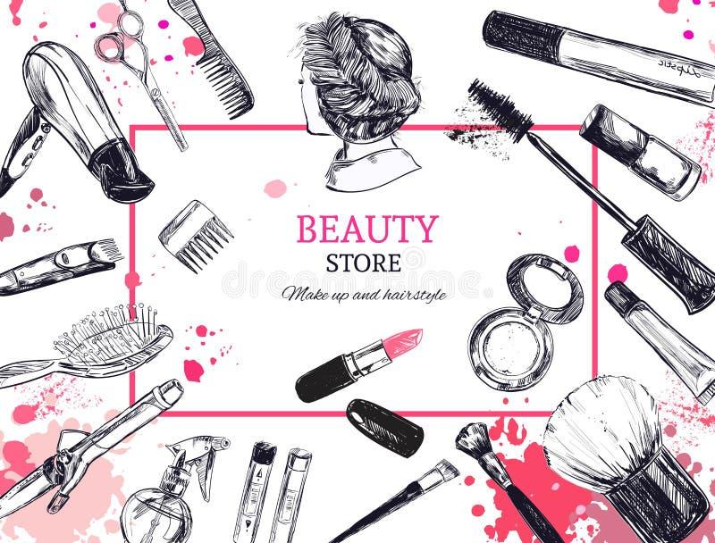 De schoonheidsmiddelen en de schoonheids vectorachtergrond met maken kunstenaar en het kappen omhoog voorwerpen: lippenstift, roo vector illustratie