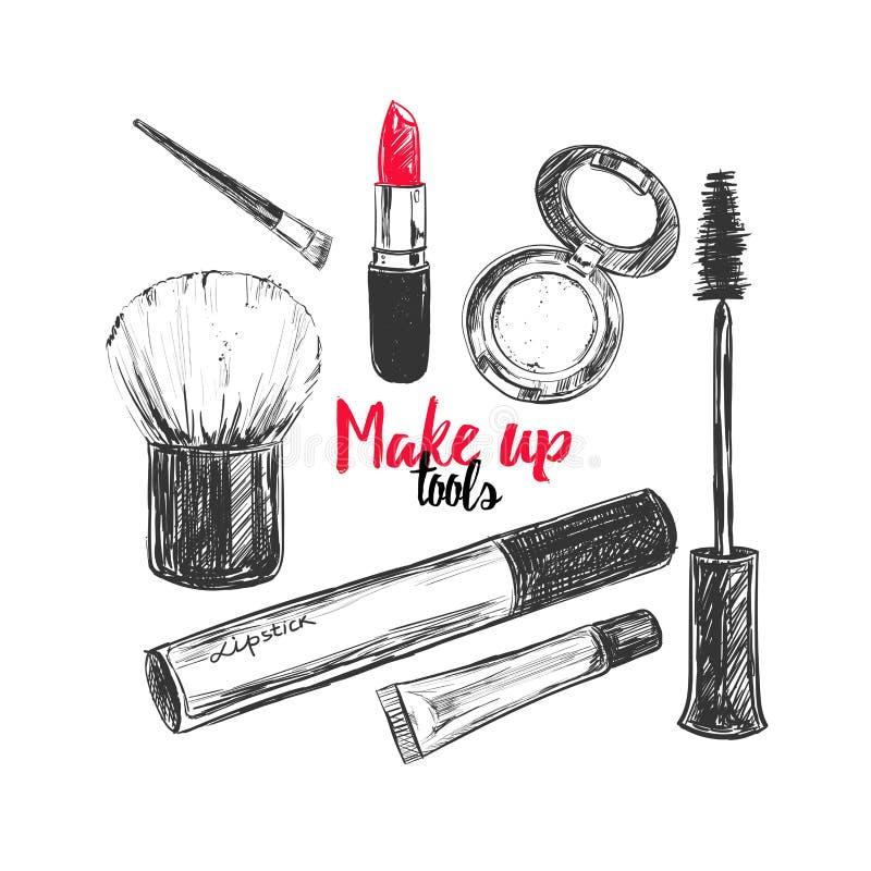 De schoonheidsmiddelen en de schoonheidsachtergrond met maken kunstenaar en het kappen omhoog voorwerpen: lippenstift, room, bors royalty-vrije illustratie