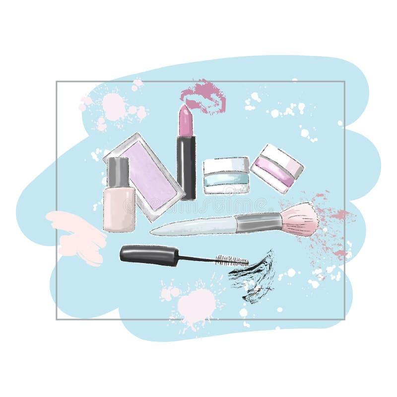 De schoonheidsmiddelen en de manierachtergrond met maken omhoog kunstenaarsvoorwerpen: lippenstift, room, borstel nagellak, masca vector illustratie