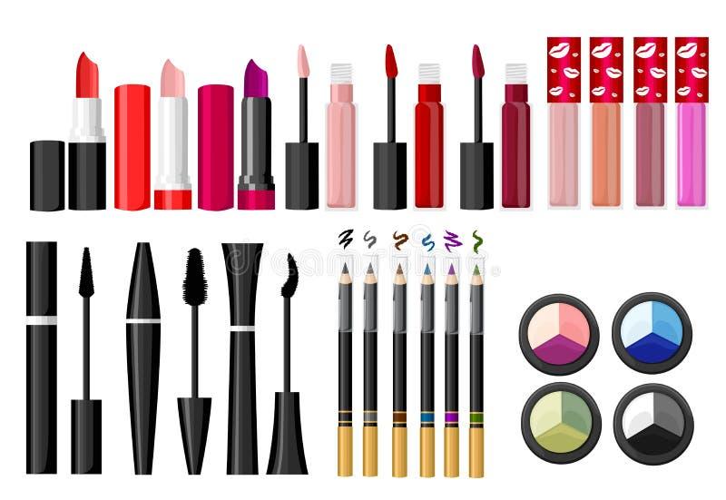 De schoonheidsmiddelen en de manierachtergrond met maken omhoog kunstenaarsvoorwerpen: lippenstift, room, borstel met plaats voor vector illustratie