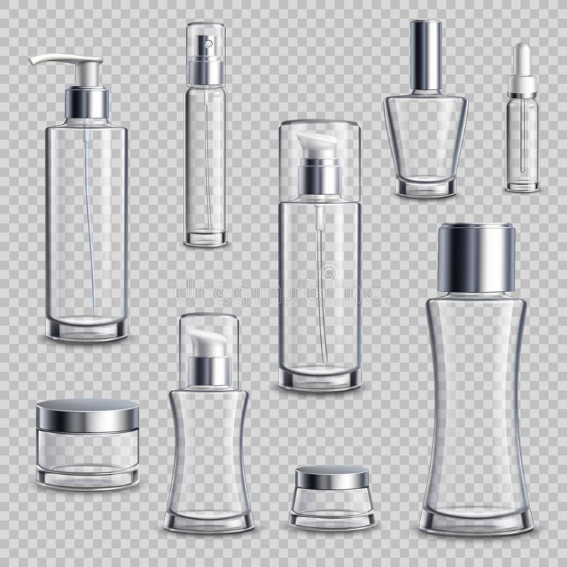 De schoonheidsmiddelen verpakken Realistische Transparante Reeks stock illustratie