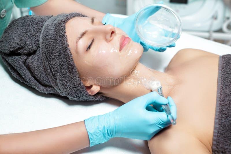 De schoonheidsspecialist past gezichtsmasker met borstel op mooie jonge vrouw in Kuuroordsalon toe de kosmetische zorg van de pro royalty-vrije stock foto's