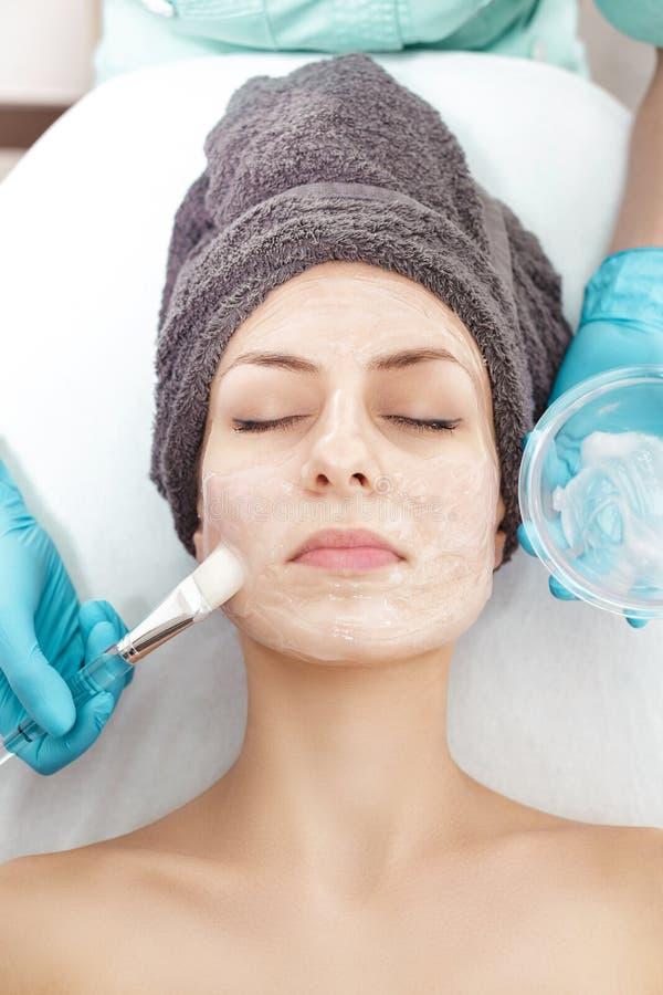 De schoonheidsspecialist past gezichtsmasker met borstel op mooie jonge vrouw in Kuuroordsalon toe de kosmetische zorg van de pro stock fotografie