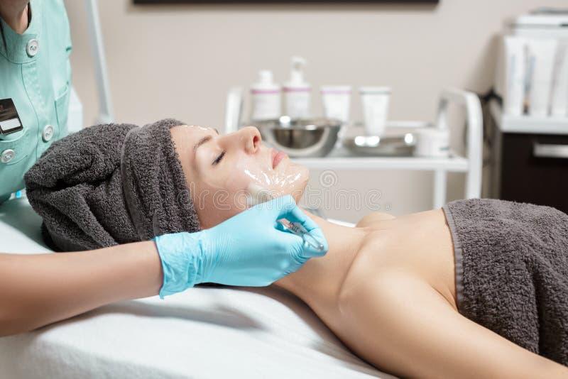 De schoonheidsspecialist past gezichtsmasker met borstel op mooie jonge vrouw in Kuuroordsalon toe de kosmetische zorg van de pro royalty-vrije stock fotografie