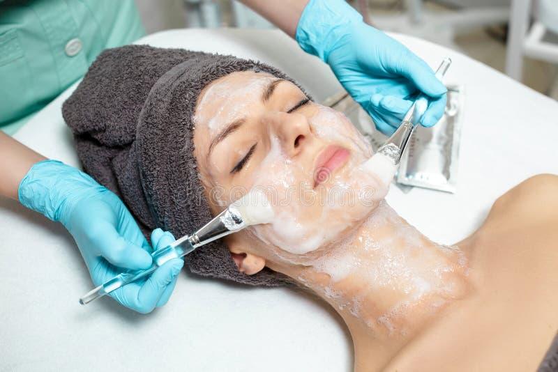 De schoonheidsspecialist past gezichtsmasker op mooie jonge vrouw in Kuuroordsalon toe de kosmetische zorg van de procedurehuid M royalty-vrije stock afbeeldingen