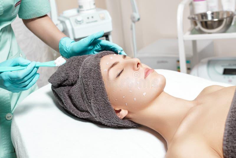 De schoonheidsspecialist past gezichtsroom op mooie jonge vrouw in Kuuroordsalon toe de kosmetische zorg van de procedurehuid stock foto