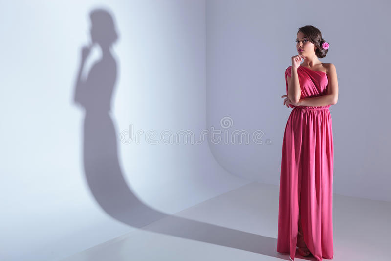 De schoonheidsvrouw bekijkt pensively u stock fotografie