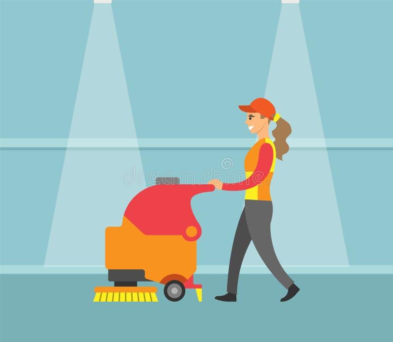 De schoonmakende Dienst, Machine met de Vector van het Borstelhulpmiddel stock illustratie