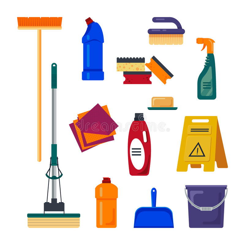 de schoonmakende dienst Vastgesteld die de pictogrammenembleem van huishulpmiddelen op witte achtergrond, vlakke vectorillustrati stock illustratie