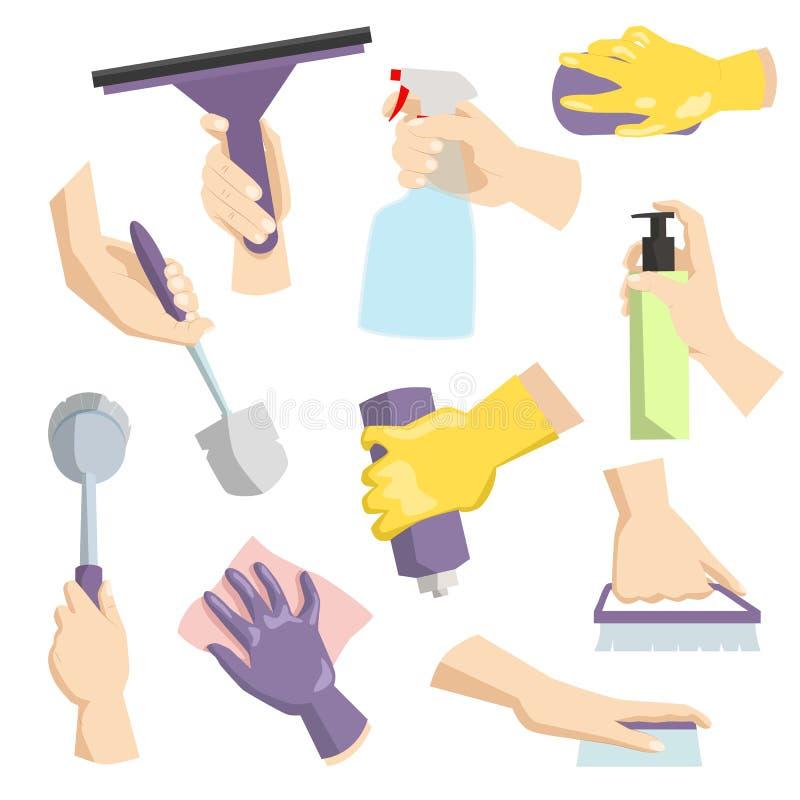 De schoonmakende hulpmiddelen in huisvrouw overhandigen perfect voor huishoudelijk werk verpakking en de binnenlandse schoonmaken vector illustratie