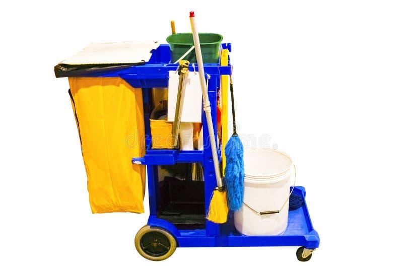 De schoonmakende hulpmiddelenkar wacht op het schoonmaken Emmer en reeks van het schoonmaken stock foto