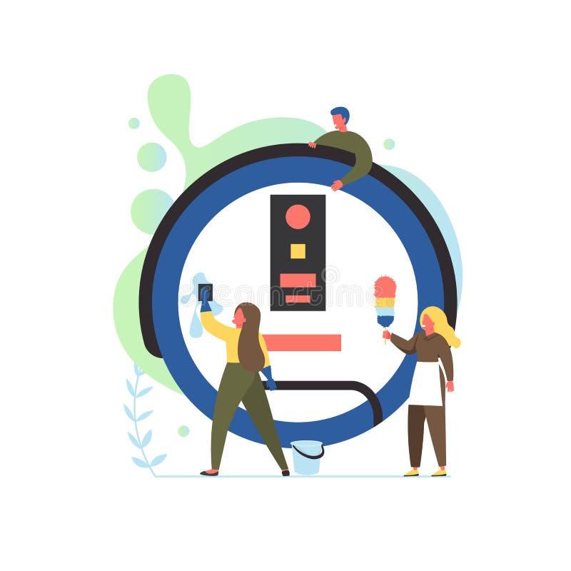 De schoonmakende illustratie van het de stijlontwerp van de bedrijfdiensten vector vlakke vector illustratie