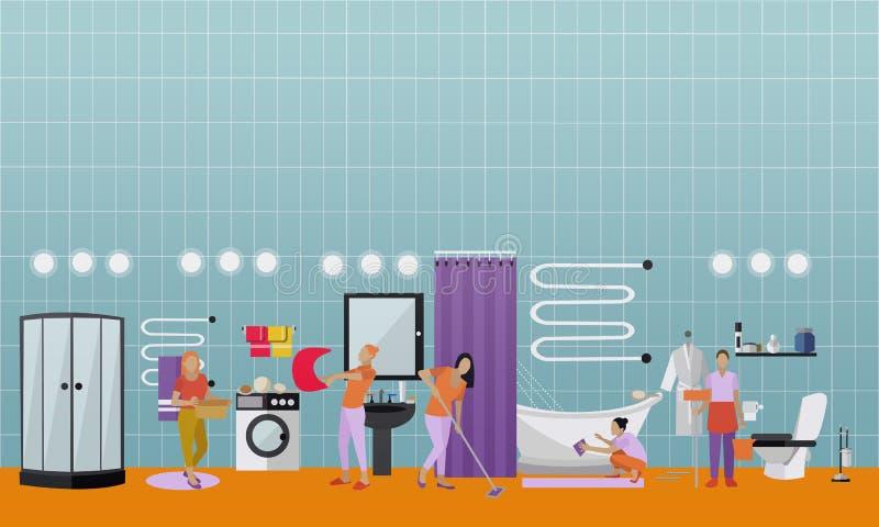 De schoonmakende vectorbanner van het de dienstconcept De mensen maken huis schoon royalty-vrije illustratie