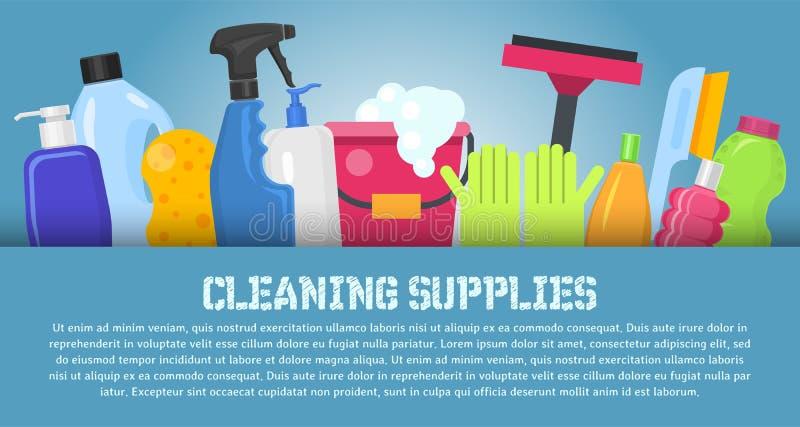 De schoonmakende vectorillustratie van de leveringsbanner Huis schone hulpmiddelen De borstel, emmervenster veegt en chemische pr royalty-vrije illustratie