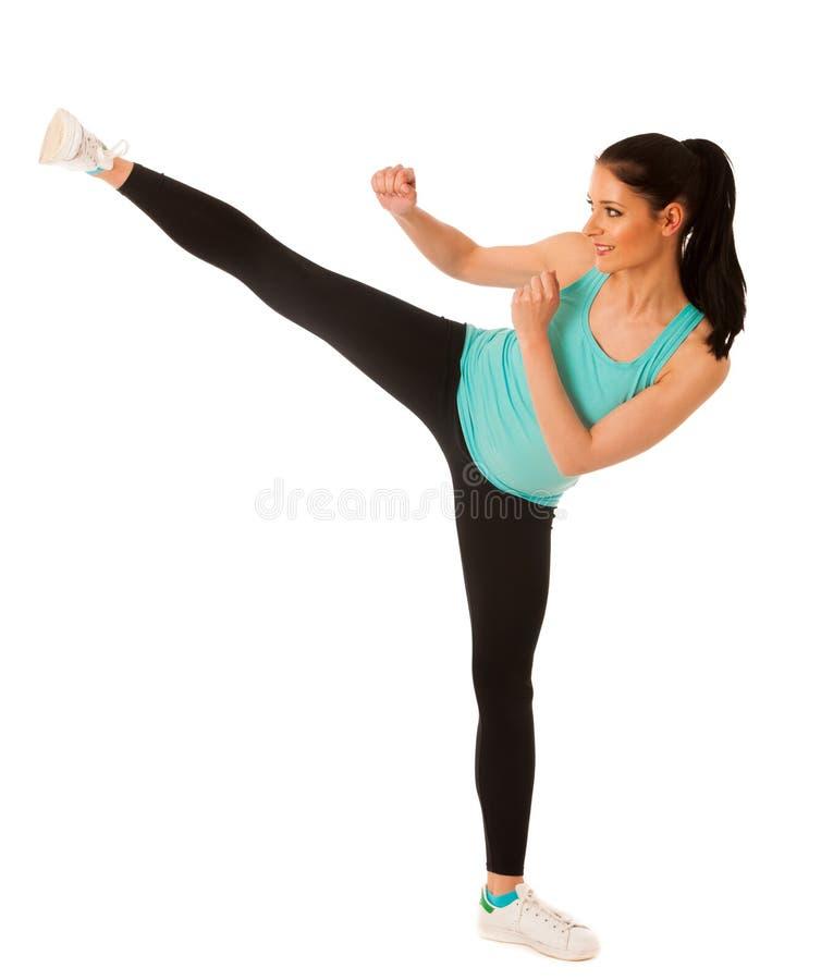 De schoppen van de karatevrouw in exemplaarruimte royalty-vrije stock afbeelding