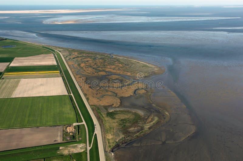 De Schorren på Texel, Nederländerna arkivbild