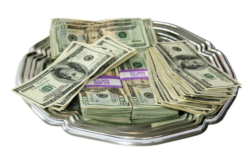 De Schotel van het geld stock afbeeldingen
