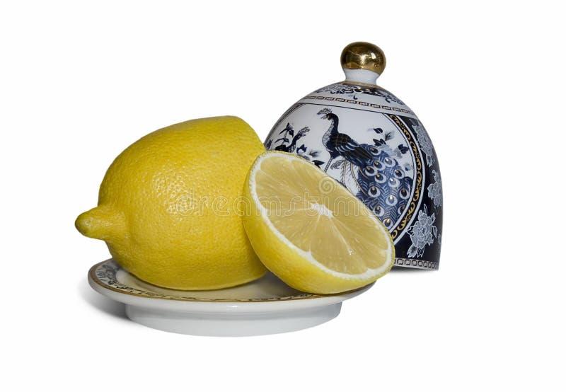 De schotels van de citroen en van China royalty-vrije stock fotografie