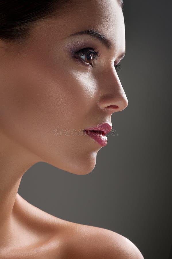 De schoten van de studioschoonheid van een jonge vrouw met onberispelijke huid royalty-vrije stock foto
