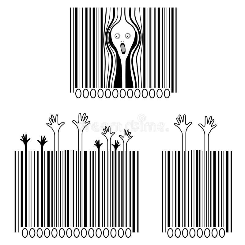 De schreeuw, consumentismeslachtoffers, creatieve streepjescodes vector illustratie
