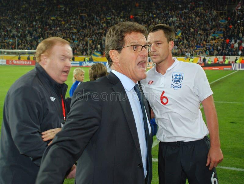 De schreeuw van Fabio Capello stock afbeeldingen