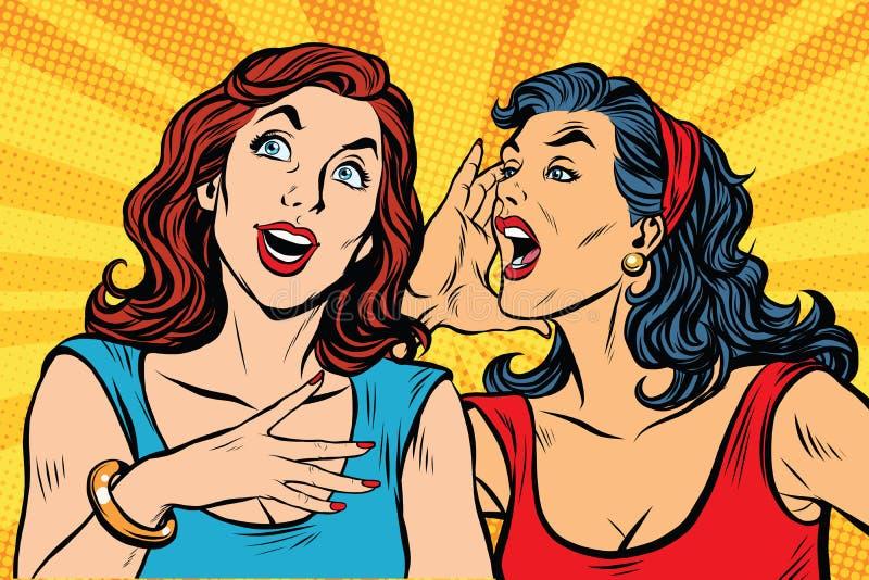 De schreeuw van het twee meisjespop-art vector illustratie