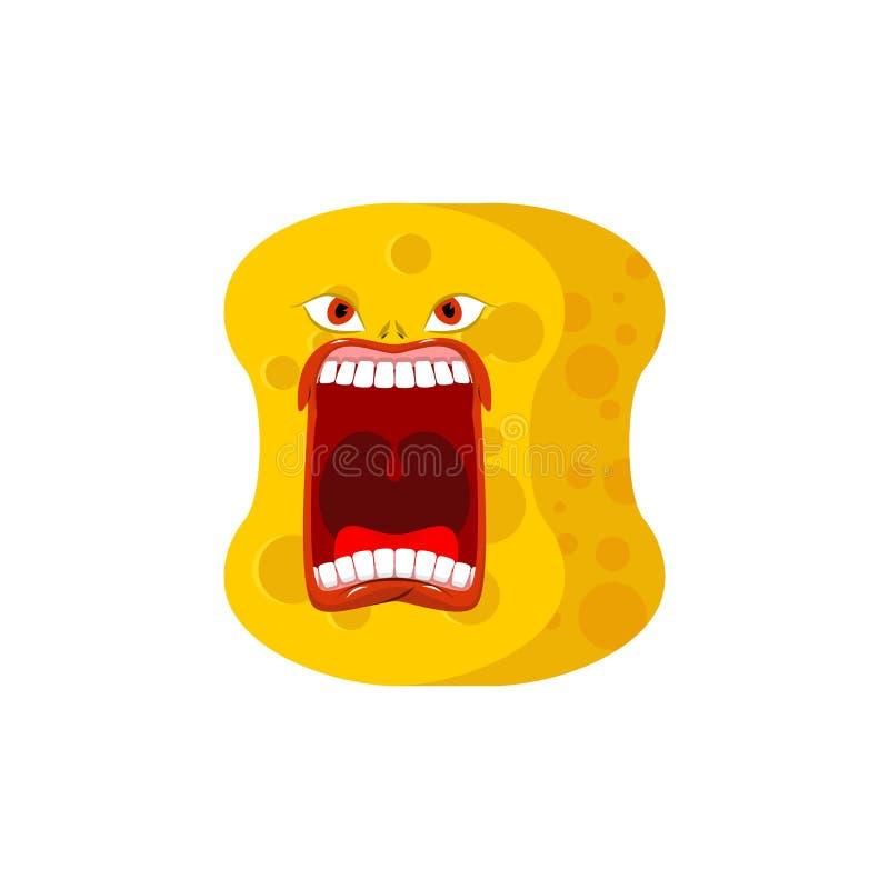 De schreeuw van sponsemoji De emoties schreeuwen gele avatar spons voor cle stock illustratie