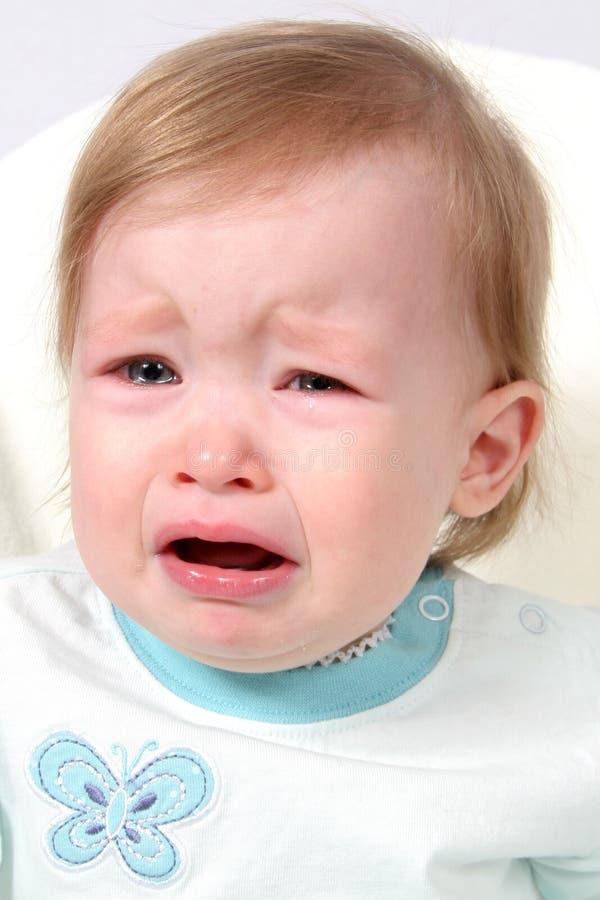 De Schreeuwende Close-up van het Meisje van de baby royalty-vrije stock afbeelding