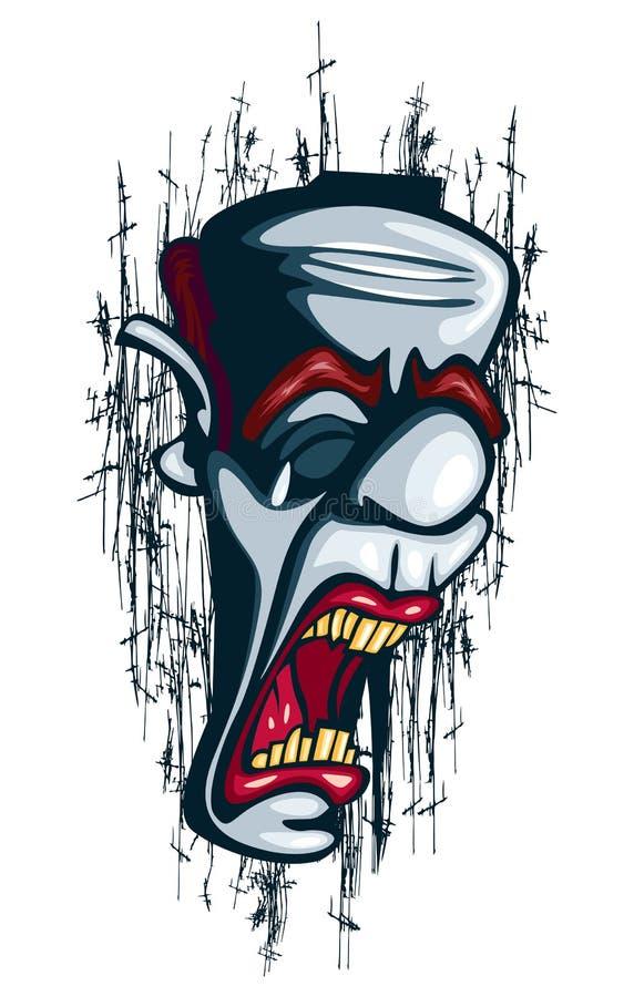 De schreeuwende niet succesvolle Joker van Clowntattoo vector circus stock illustratie