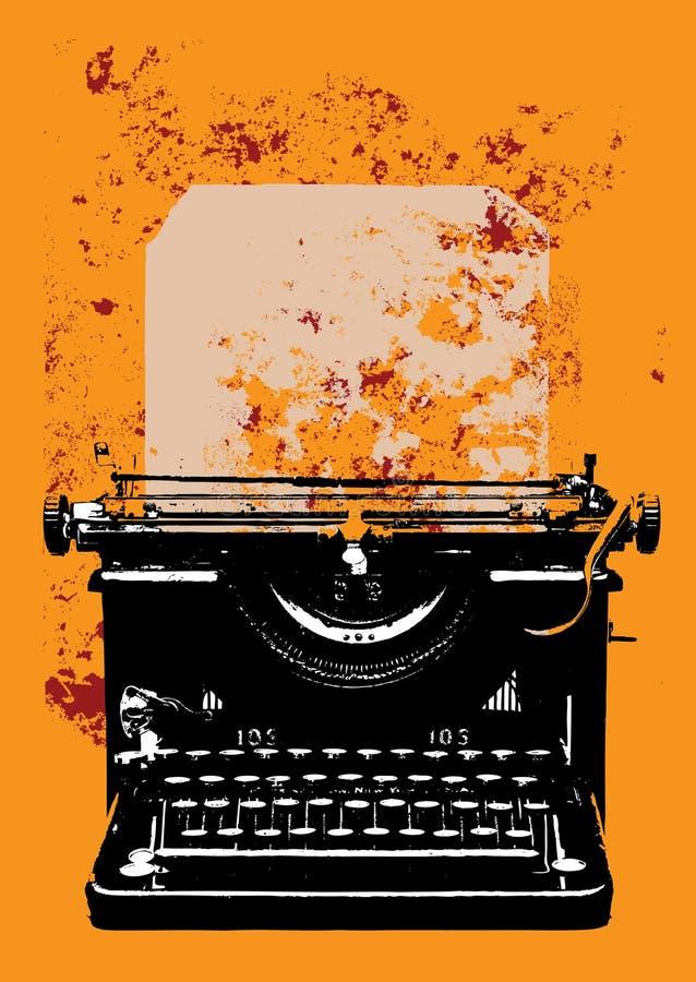 De schrijfmachine van Grunge met een blad vector illustratie