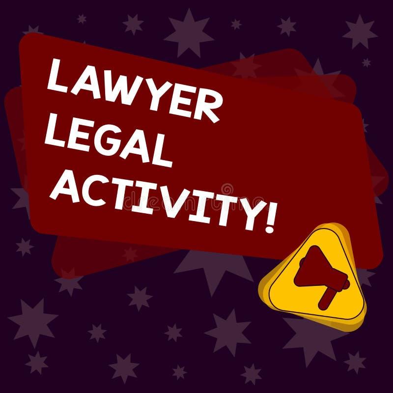 De schrijvende Advocaat Legal Activity van de handschrifttekst De conceptenbetekenis bereidt gevallen voor en geeft advies op wet royalty-vrije illustratie
