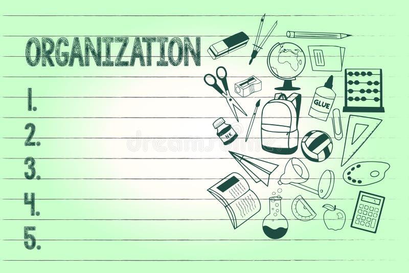 De schrijvende Organisatie van de handschrifttekst Conceptenbetekenis Georganiseerde groep het tonen met bepaalde doelzaken vector illustratie