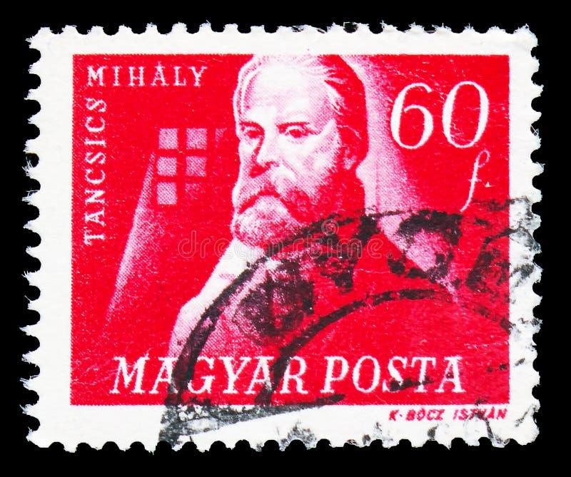 De schrijver van Mihaly Tancsics 1799-1884, Hongaarse Vrijheidsvechters serie, circa 1947 stock foto