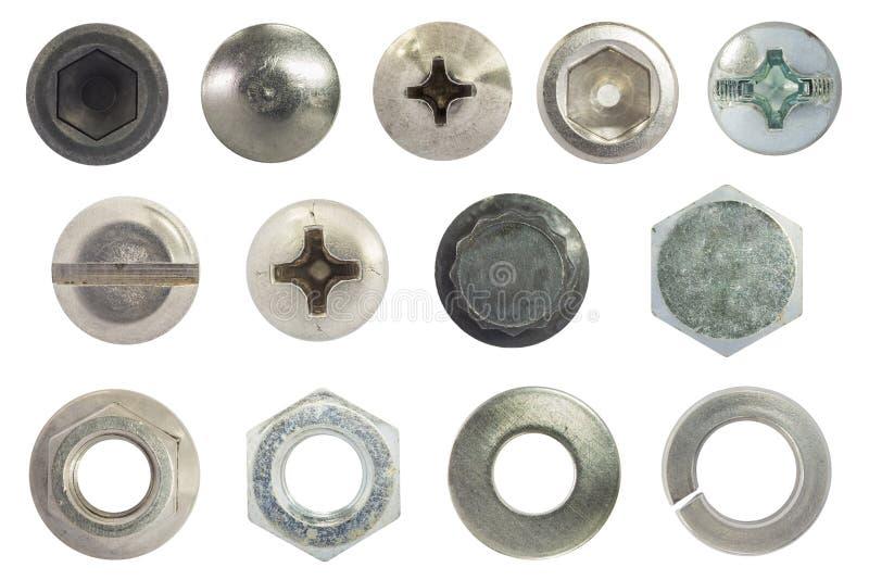 De schroef, de bout, de nagel, de noot, de wasmachine en de de lentewasmachine isoleren op wit royalty-vrije stock afbeeldingen