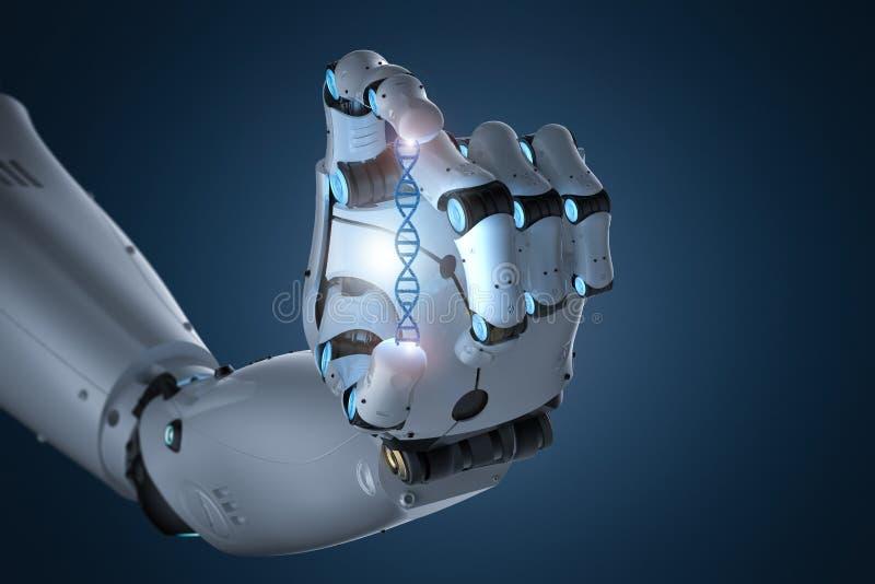 De schroef van DNA van de robotholding stock illustratie