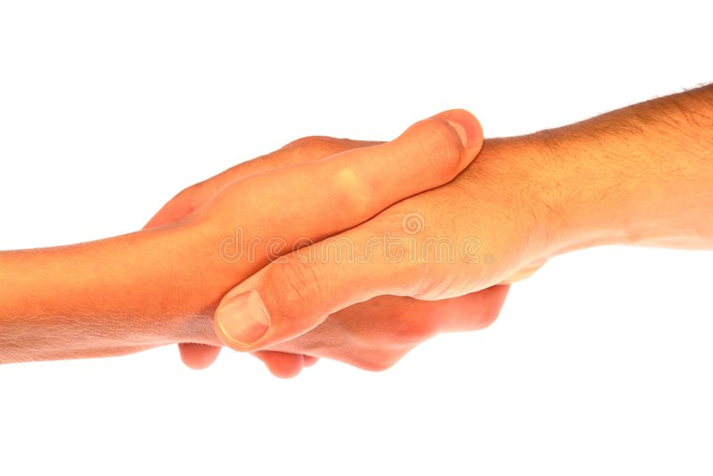 De schuddende Handdruk van Handen stock foto's