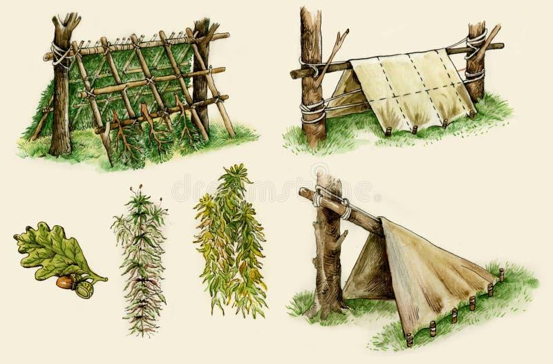 De schuilplaatsen van de overleving in het hout royalty-vrije illustratie