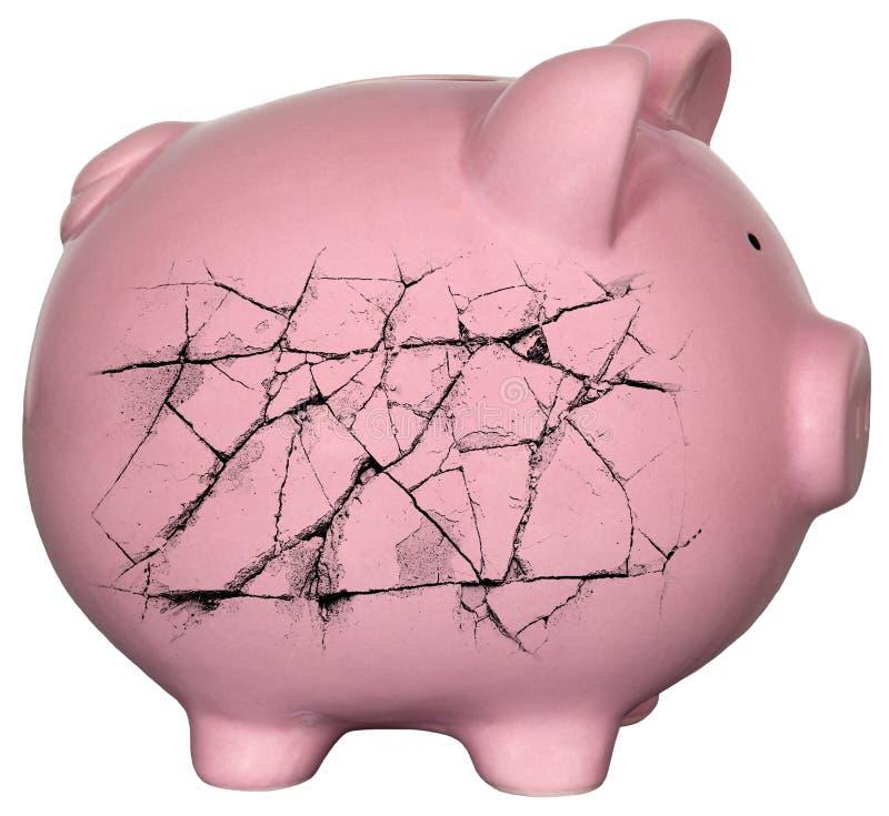 De Schuld Failliet Geld van het spaarvarken stock afbeelding